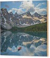 Person In Canoe On Moraine Lake, Banff Wood Print