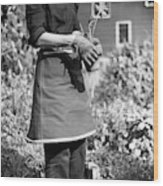 Person Wearing A Gardening Apron Wood Print