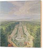Perspective View Of The Grove From The Galerie Des Antiques At Versailles, 1688 Oil On Canvas Wood Print