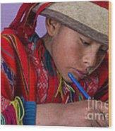 Peru Writing Lesson In Huilloc Primary School Peru Wood Print