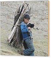 Peruvian Boy Gathers Wood Wood Print