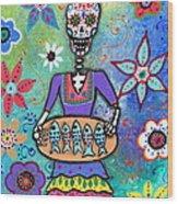 Pescadora Dia De Los Muertos Wood Print