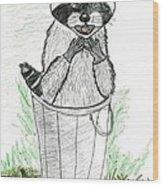 Pesky Raccoon Wood Print