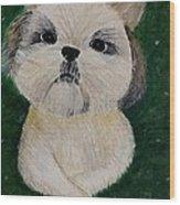 Pet Dog Wood Print by Kat Poon
