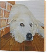 Pet Portrait Great Pyrenees Original Oil Painting On Canvas 10 X 10 Inch Wood Print