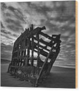 Peter Iredale Shipwreck Black And White Wood Print