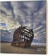 Peter Iredale Shipwreck Sunrise Wood Print