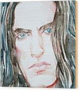 Peter Steele Watercolor Portrait Wood Print