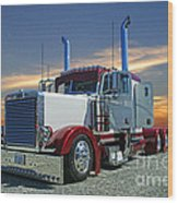 Peterbilt At The Beach  Wood Print