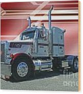 Peterbilt With Burgundy Abstract Wood Print