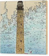 Petit Manan Island Lighthouse Me Nautical Chart Map Art Wood Print