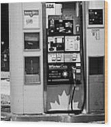 petro canada winter gas fuel pump at service station Regina Saskatchewan Canada Wood Print