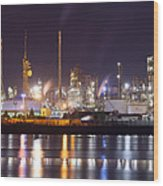 Petrochemical Plant In Night  Wood Print