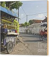 Petrol Stall And Cyclo Taxi In Solo City Indonesia Wood Print