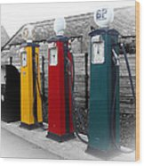 Petrol Station Wood Print by Roberto Alamino