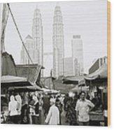 Petronas Over Kampung Baru Wood Print