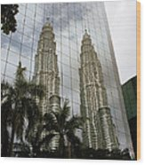 Petronas Reflecting Wood Print