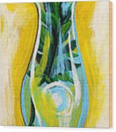Petunia In Vase With Yellow Background Wood Print by Genevieve Esson