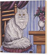 Pewter The Cat Wood Print
