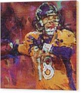 Peyton Manning Abstract 2 Wood Print by David G Paul