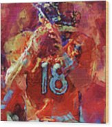 Peyton Manning Abstract 3 Wood Print by David G Paul