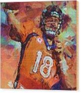 Peyton Manning Abstract 4 Wood Print
