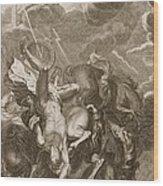 Phaeton Struck Down By Jupiter's Thunderbolt Wood Print