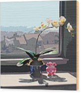 Phalaenopsis Orchid In Sunny Window Wood Print
