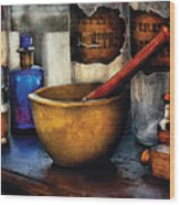 Pharmacist - Mortar And Pestle Wood Print by Mike Savad