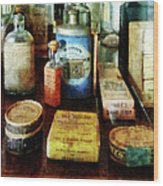 Pharmacy - Cough Remedies And Tooth Powder Wood Print