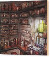 Pharmacy - Equipment - Merlin's Study Wood Print by Mike Savad