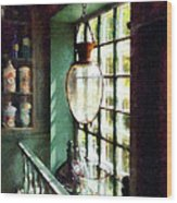Pharmacy - Glass Mortar And Pestle On Windowsill Wood Print