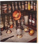 Pharmacy - Items From The Specialist Wood Print by Mike Savad