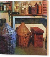 Pharmacy - Medicine Bottles And Baskets Wood Print