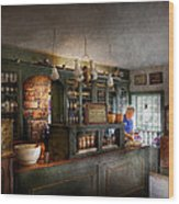 Pharmacy - Morning Preparations Wood Print by Mike Savad