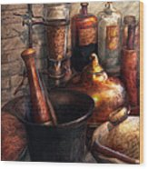 Pharmacy - Pestle - Pharmacology Wood Print by Mike Savad