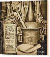 Pharmacy - Snake Oil -  Black And White Wood Print