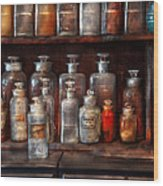 Pharmacy - The Chemistry Set Wood Print by Mike Savad