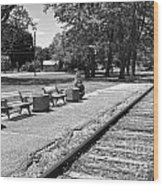 Phelps Ny Train Station In Black And White Wood Print