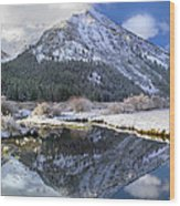 Phi Kappa Mountain Reflected In River Wood Print
