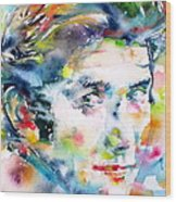 Phil Ochs - Watercolor Portrait Wood Print
