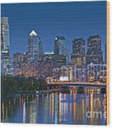 Phila Pa Night Skyline Reflections Center City Schuylkill River Wood Print