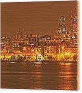 Philadelphia Across The Delaware Wood Print