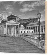 Philadelphia Art Museum And Waterworks 11 Bw Wood Print