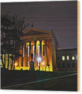Philadelphia Art Museum  At Night From The Rear Wood Print by Bill Cannon