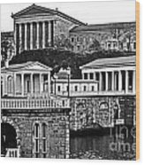 Philadelphia Art Museum At The Water Works In Black And White Wood Print