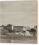 Philadelphia Art Museum With Cityscape In Sepia Wood Print