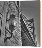 Philadelphia Benjamin Franklin Bridge 2 Bw Wood Print