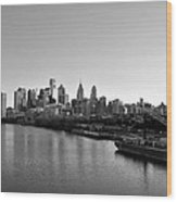 Philadelphia Black And White Wood Print