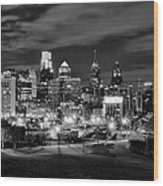 Philadelphia Black And White Cityscape Wood Print